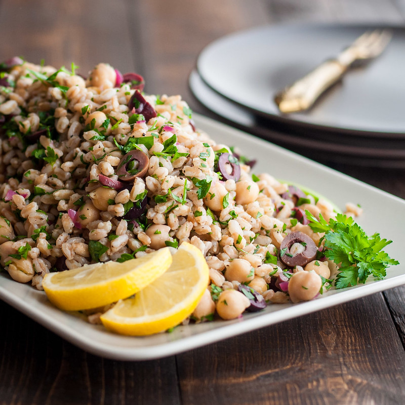 Shake up traditional tabbouleh with lots of briny olives and protein-packed chickpeas
