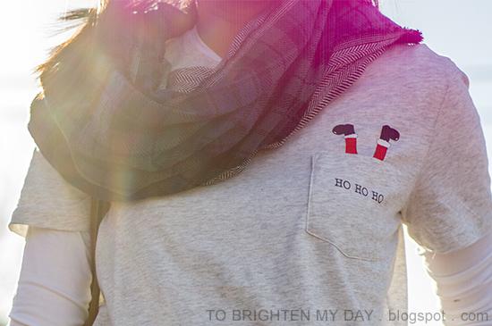plaid and herringbone infinity scarf, santa tshirt