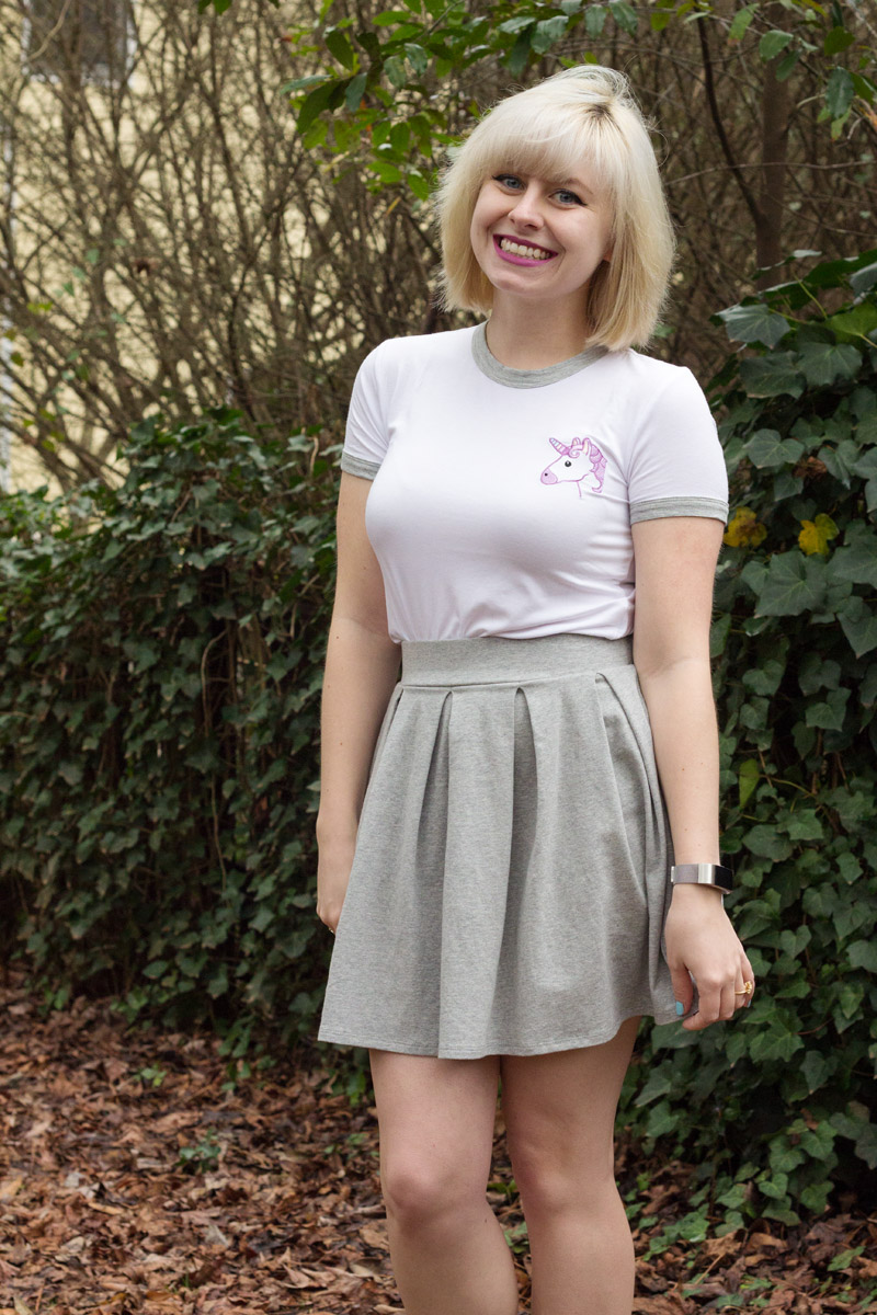 Unicorn Ringer T-shirt, Pleated Light Gray Skirt