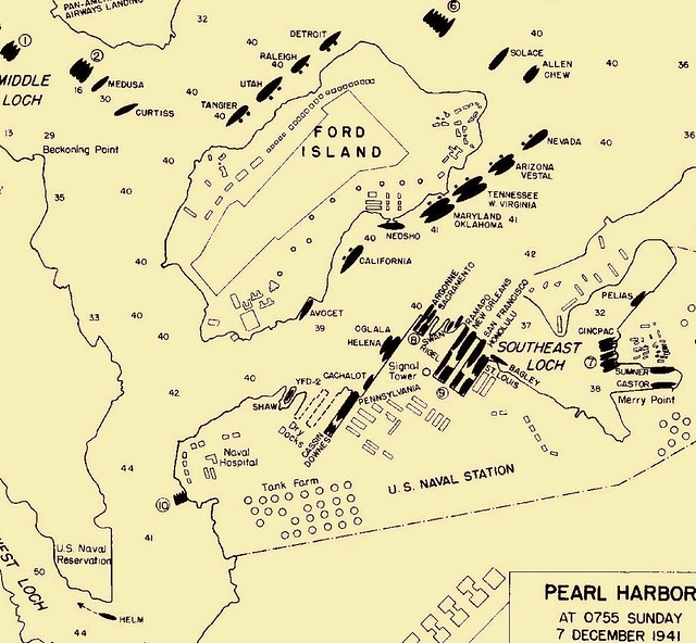 Pearl Harbor Map on 7 December 1941 | Pearl Harbor Warbirds