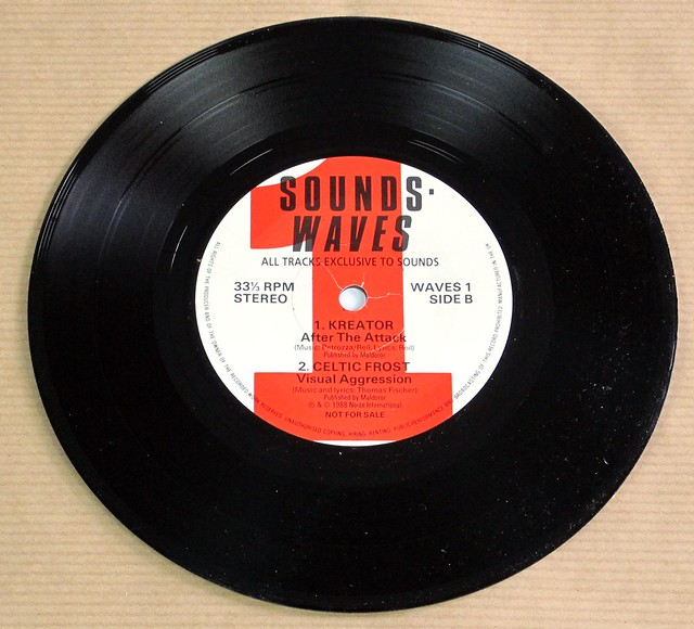 "SOUND WAVES 1 MOTHERHEAD / STUPIDS / KREATOR / CELTIC FROST 7"" PROMO EP 33RPM PS VINYL"