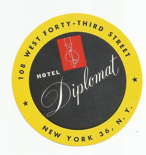 Hotel Diplomat (NYC, NY) Luggage Tag (Undated)