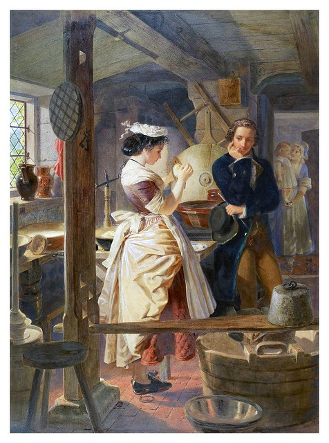 008- Hetty Sorrel and Captain Donnithorne in Mrs Poyser's dairy (1861)-E. H. Corbould-Via Victorian British Painting