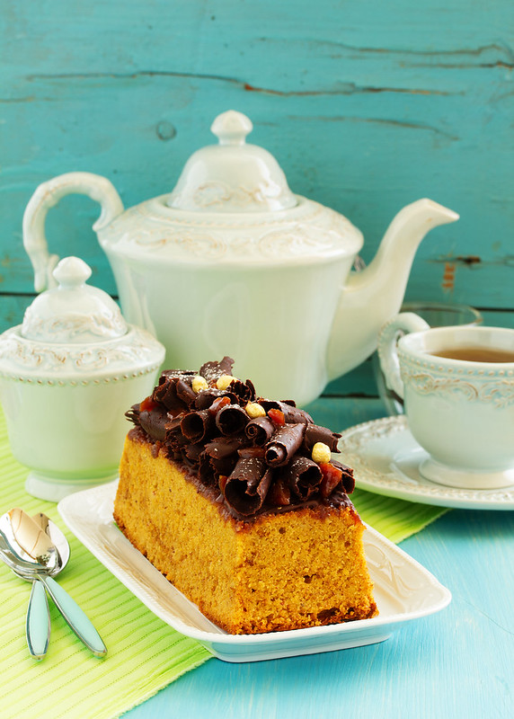 Caramel cake with chocolate decoration.