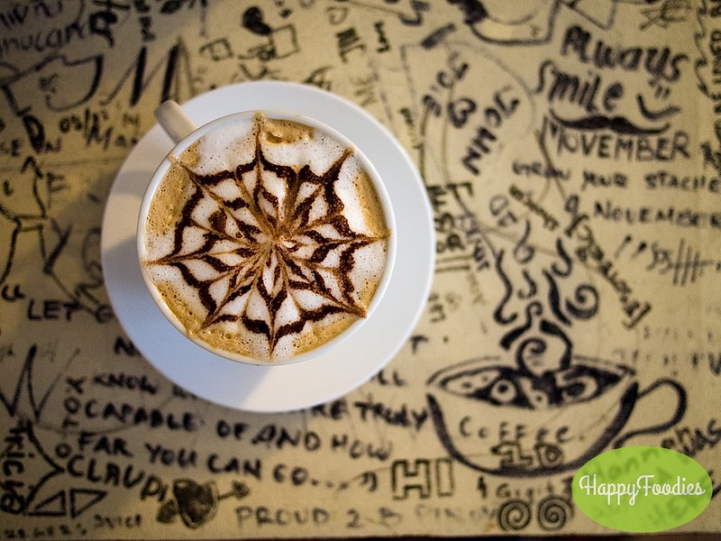 Latte art on a doodled table