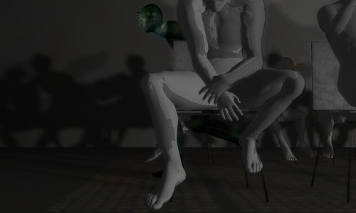 Image Description: Torso and leg shot of chalky figures in folding chairs; a dark green, horned figure is creeping out form between the rows.