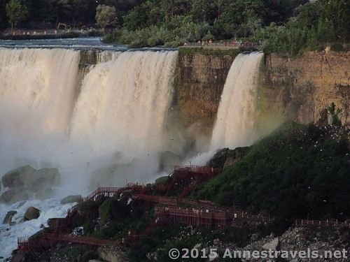 Taken from the Canadian Side (with plenty of zoom), this picture shows the viewing area on the American side of the American falls and Bridalveil Falls, Niagara Falls State Park, New York