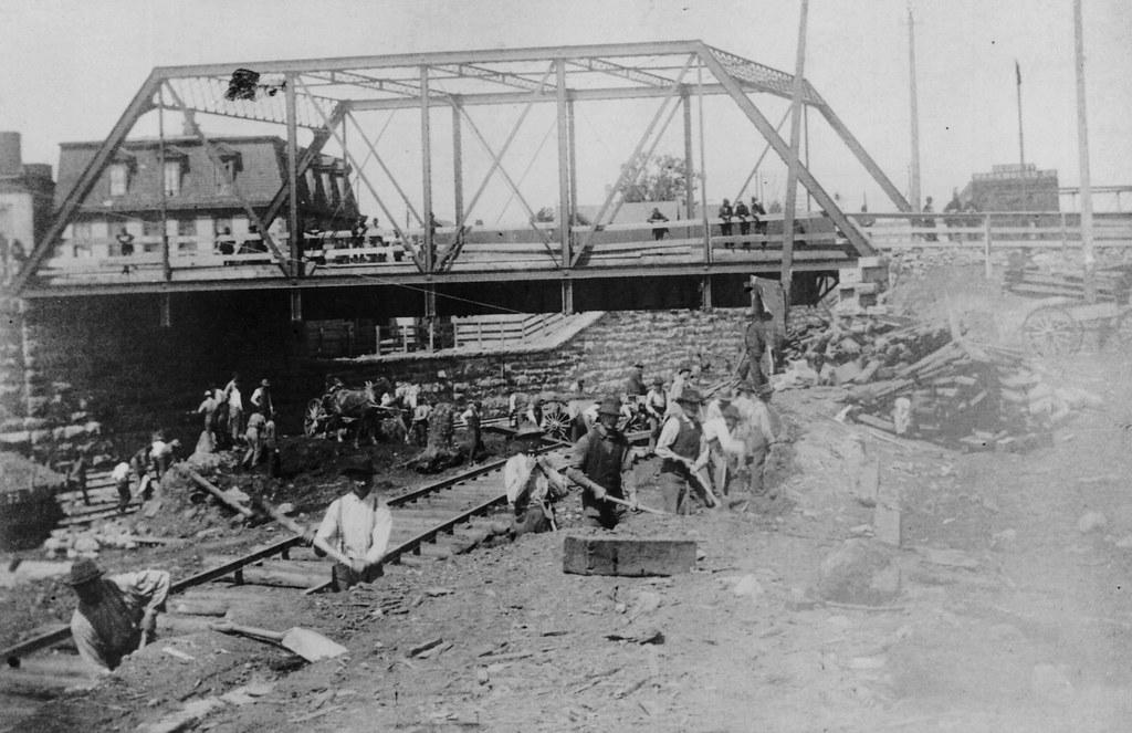 Construction Of Railroad Tracks Under A Bridge On Washingt