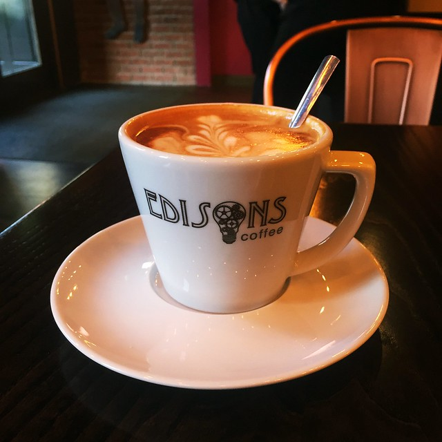 Almond milk coffee at Edison's Coffee in Sheffield
