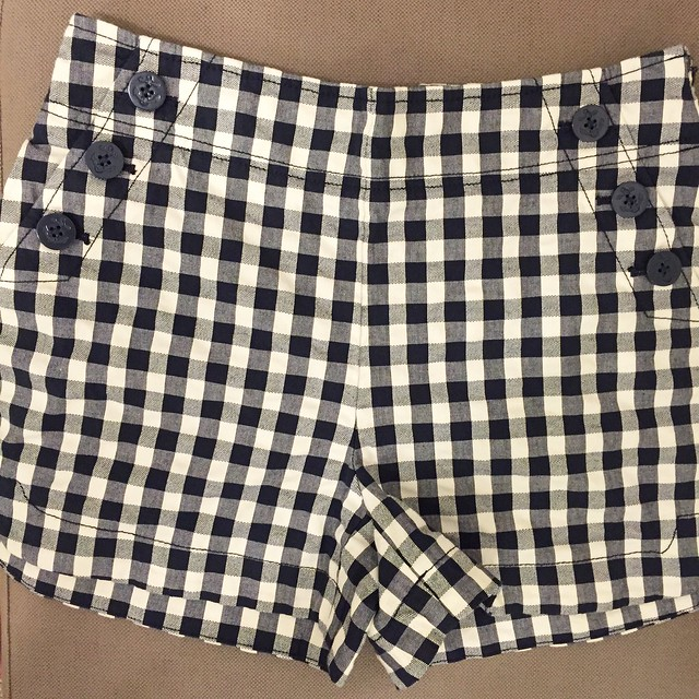 LOFT Gingham Sailor Riviera Shorts, size 0