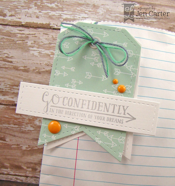 Jen Carter Go Confidently Bag Tag Closeup