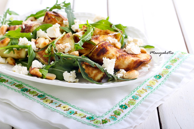 Zucchini, rocket, feta and nut salad