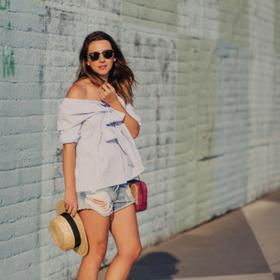 blusa de rayas con lazo