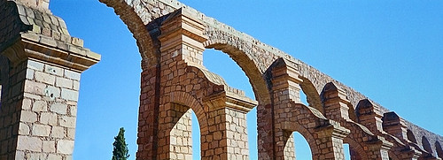 The stone aqueduct in Zacatecas, Mexico