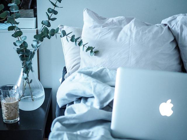 P1281744.jpgLetsStayInBedMacbookCoffeeEucalyptus,LetsStayInBedHomeVibesMacEucalyptus-1281738.jpg, home, koti, interior, decor, sisustaminen, kodin sisustus, pellavalakanat, harmaa, gray, bed, sänky, koti, home, interior, inspiration, home interior, kodin sisustus, sheets, eucalyptus, coffee, kahvi, hobstar, macbook, laptop, kannettava, maljakko, kukat, flowers, home vibes, vase, eucalyptus branches, light gray,