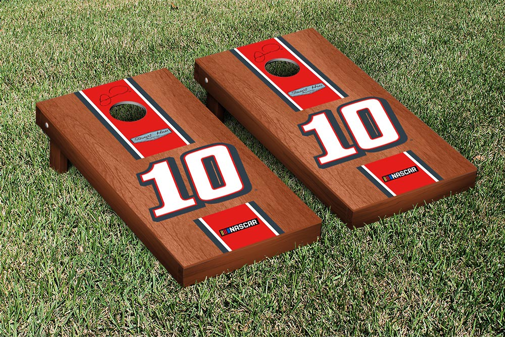 DANICA PATRICK #10 CORNHOLE GAME SET ROSEWOOD STAINED TAX ACT STRIPE VERSION