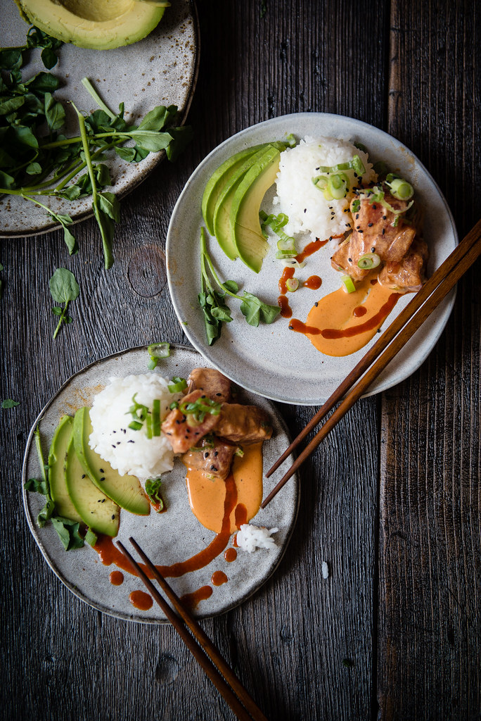 "spicy ahi poke, avocado & rice ""parfaitinis"" 