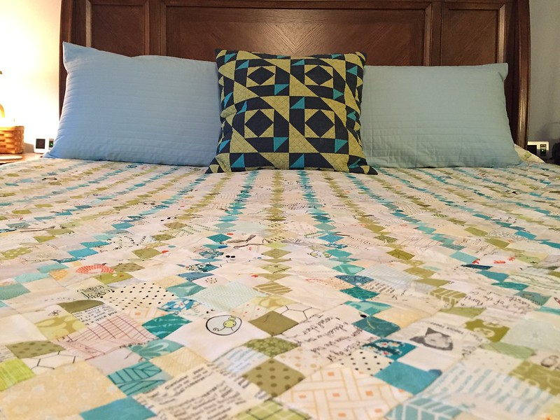 Sea Glass Stripes Quilt and Modern Puzzle cushion