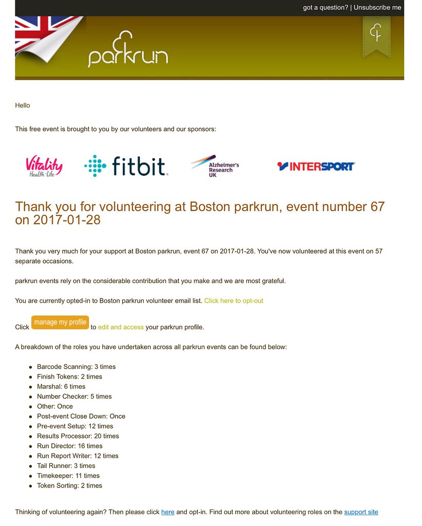 run reports boston parkrun from here you can opt into our emails by clicking the opt in button or hit the manage my profile button to make changes to you profile