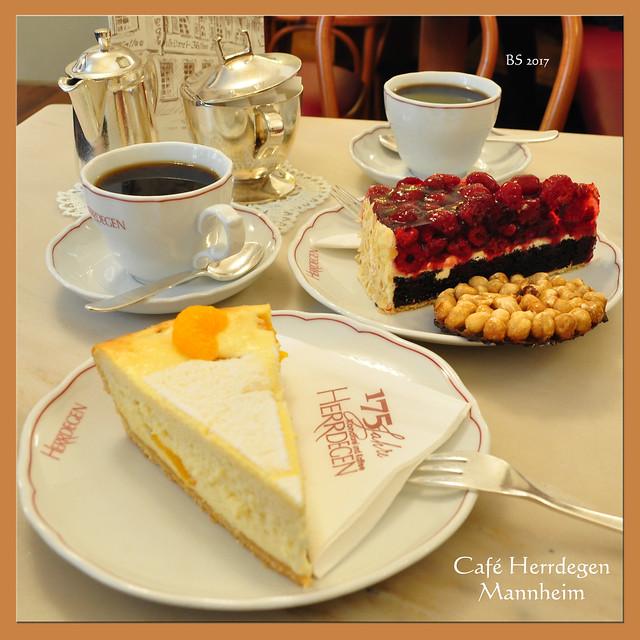 Café Herrdegen Mannheim: Beerentorte Mandarinen-Käse-Kuchen ... Bienenstich ... Foto: Brigite Stolle
