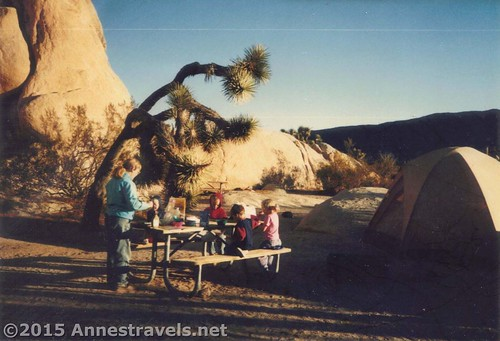 Eating breakfast in Joshua Tree National Park, California, in the year 1995