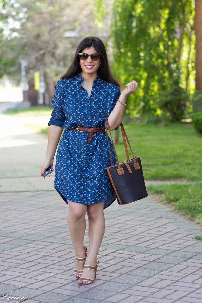 dragonfly print shirtdress, leather tote, sandals-4.jpg