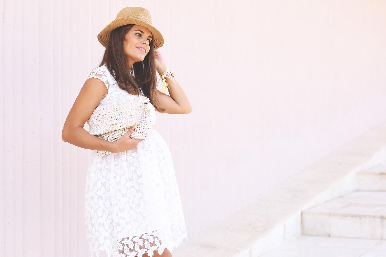 3. lace white short dress - jessie chanes - pregnancy