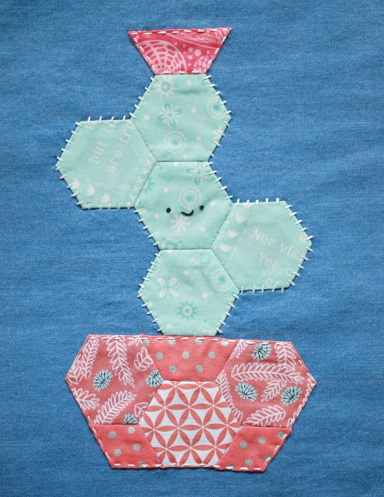 happy cactus quilt piecing pattern