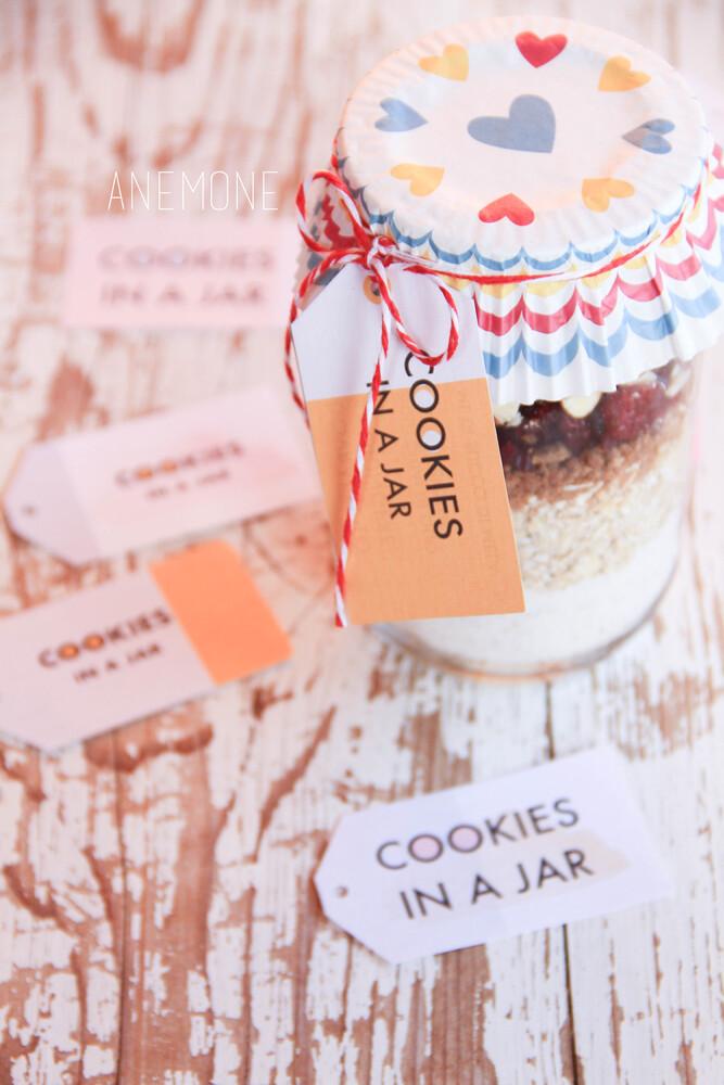 Cookies in a jar: preparato per biscotti in barattolo versione vegana + free printables per voi