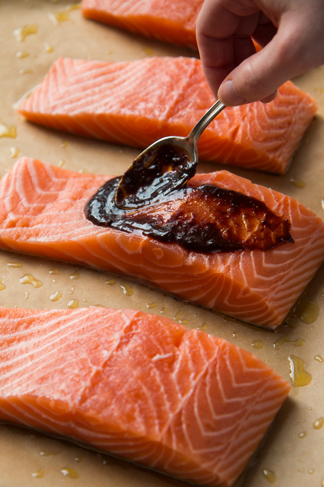 Baked Salmon with Ginger Miso Glaze