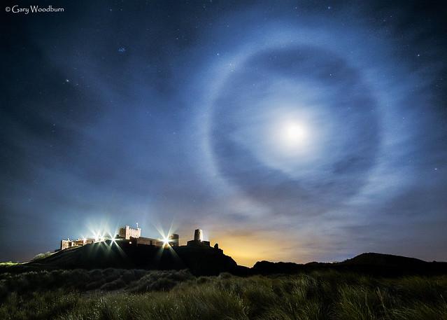 Bamburgh Ring - Lunar Halo, Bamburgh Castle, Northumberland