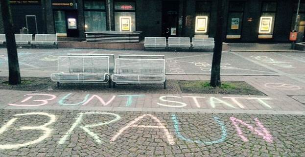 """Bunt statt braun"" - Kreideaktion der Grünen Jugend Bochum (Bildquelle: Grüne Bochum)"