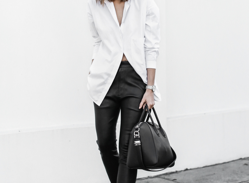 modern legacy, fashion blog, street style, white shirt, leather pants, monochrome, black and white, Givenchy Antigona medium, sneakers (1 of 1)