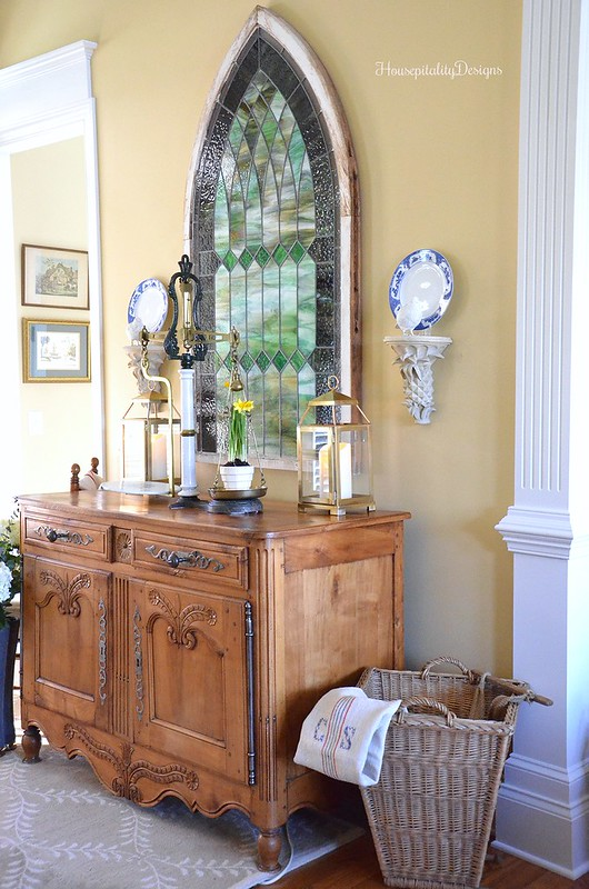 Foyer-Antique French Buffet-Stained Glass-Housepitality Designs