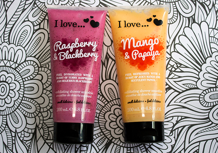I Love... Exfoliating Shower Smoothies: Raspberry and Blackberry, Mango & Papaya