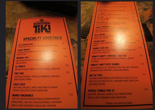 Bootlegger Tiki menu
