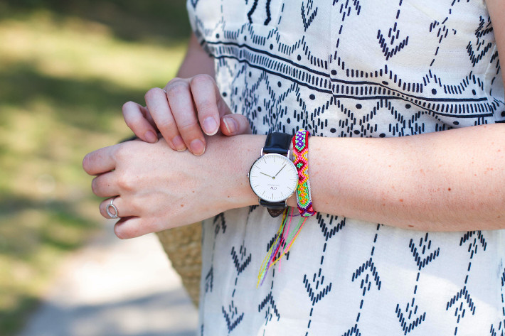 outfit: geometric print sundress, Daniel Wellington watch, friendship bracelet