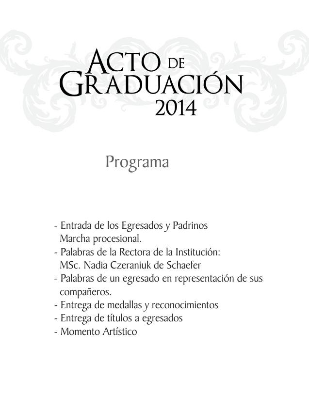 Acto De Graduación 2014