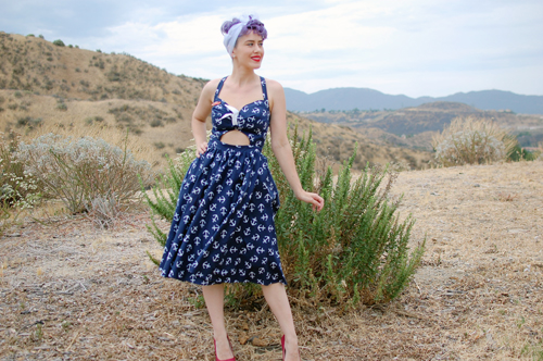 Pinup Girl Clothing Renee dress in Navy Anchor print