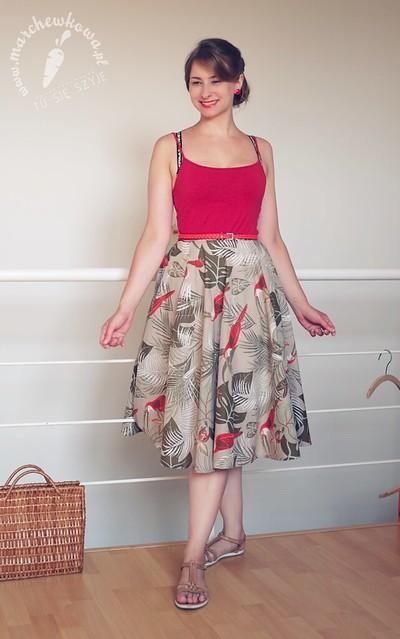 blog, marchewkowa, szycie, krawiectwo, sewing, diy, handmade, refashion, retro, vintage, 50s, lata '50., 1950, spódnica z koła, tukany, ptaki, bawełna, tu się szyje, wrocław, pracownia marchewkowej