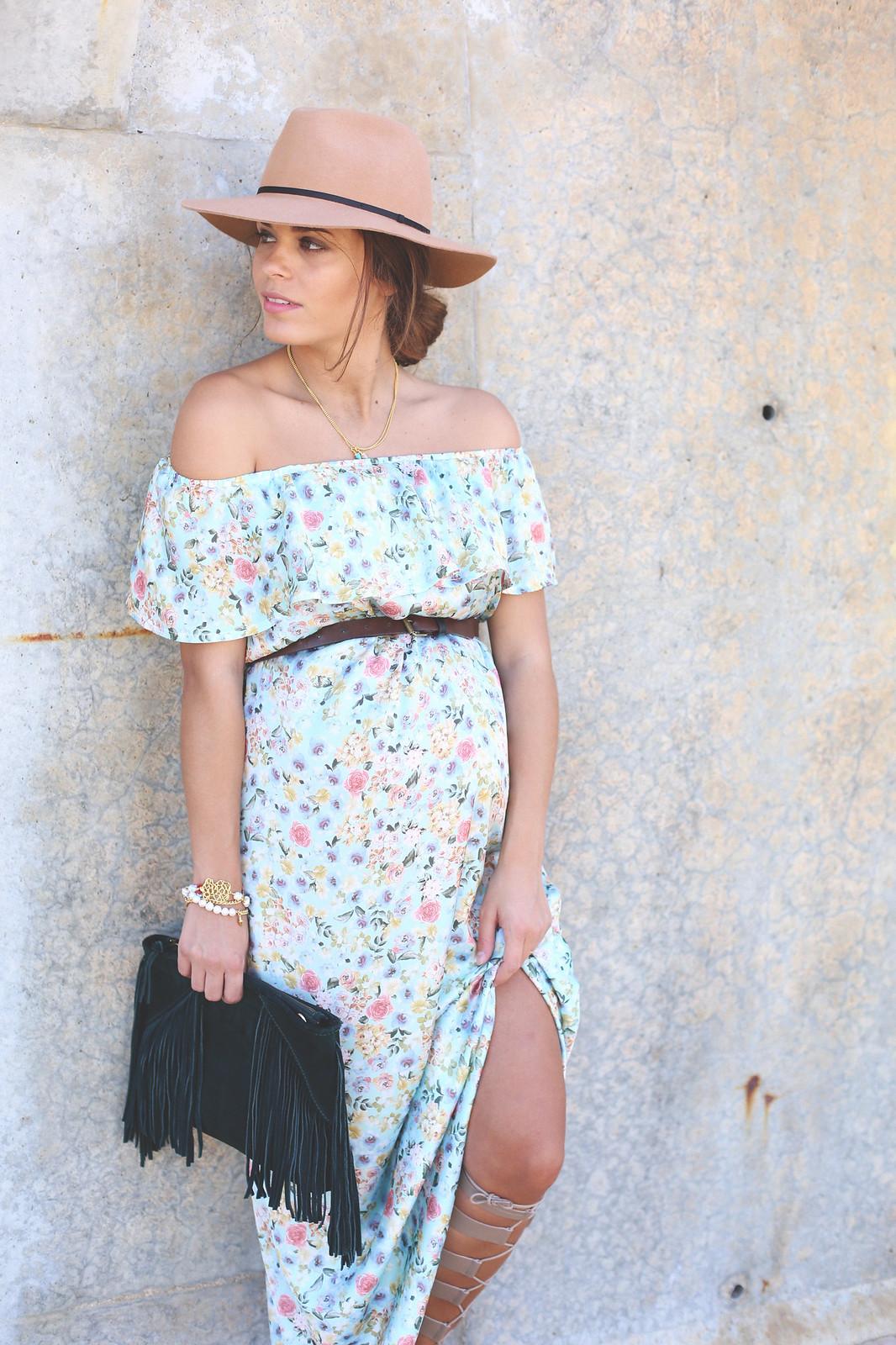 12. floral print long dress - jessie chanes - pregnancy