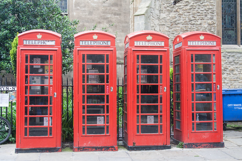 Four red telephone boxes, Cambridge