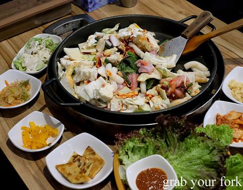 Dakgalbi spicy chicken bbq with panchan at PR Korean Restaurant, Lidcombe