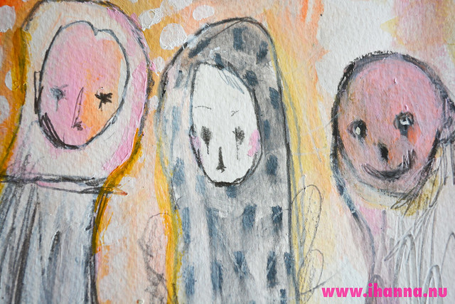 Inspirational - Three friends peeking through painting by iHanna