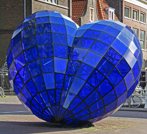 A Delft Blue Glass Heart in Delft, Holland