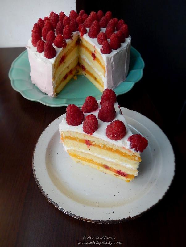 tort cu lemon curd, fistic si zmeura