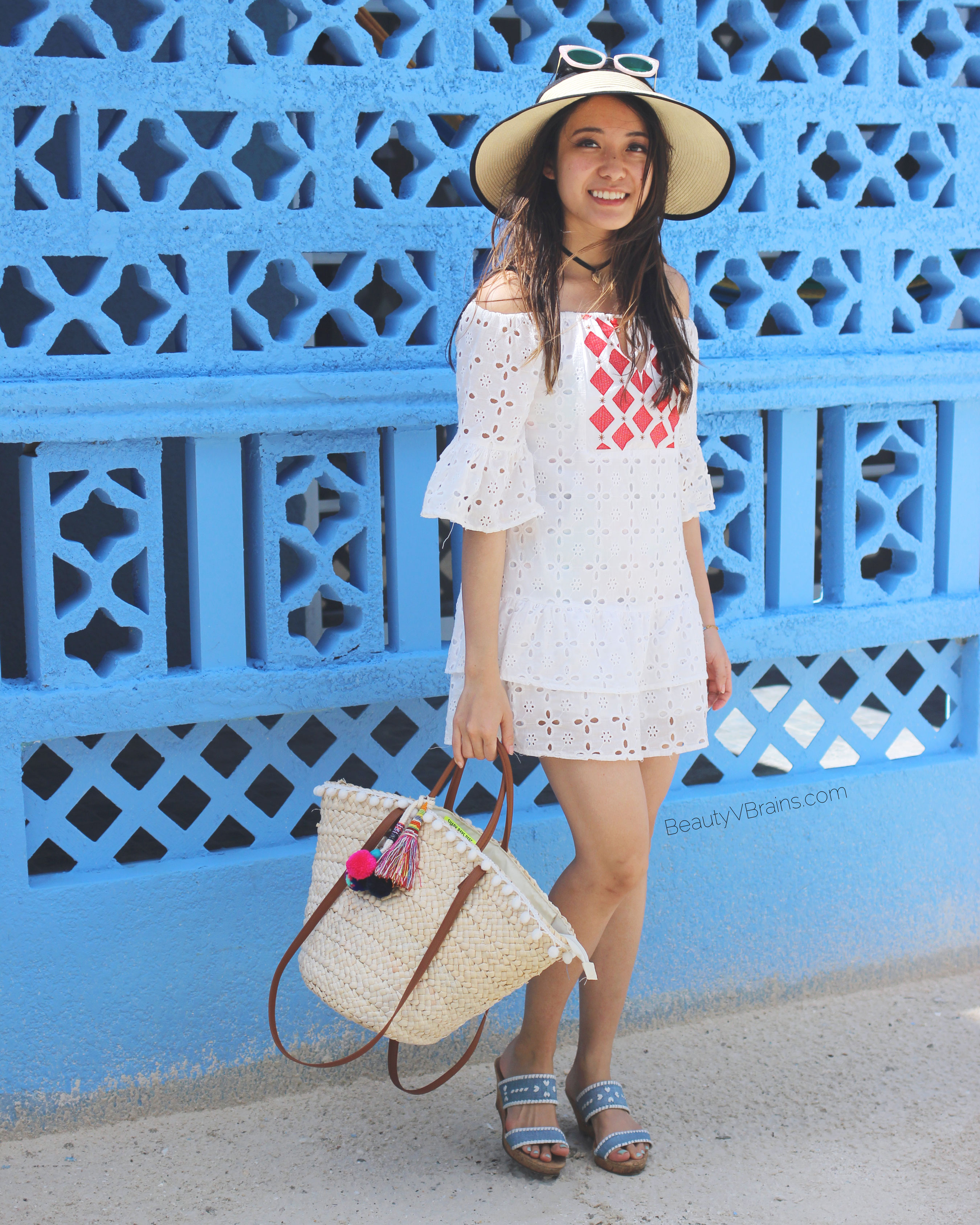White bell sleeve off the shoulder dress in Caye Caulker