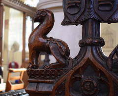 bench end: chained menagerie animal (giraffe?) (15th Century)