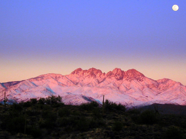 Snowy Four Peaks Moonrise | I can't take credit for this ...
