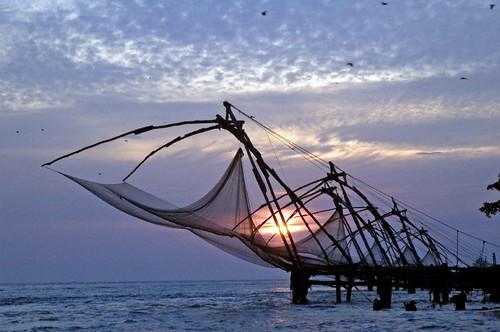 R Fisheries fishing net sunset DSC...